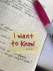 Post-It note with the words 'I want to know ...'