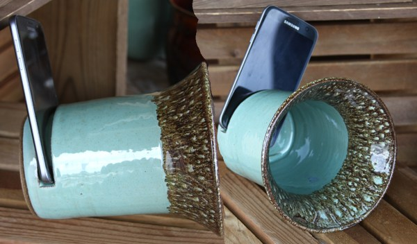 Cell Phone Speakers by Oddbowlz Ceramics- A real wireless speaker and it works! Place your cell phone in the slot as pictured and the pottery acts as a sound amplifier.