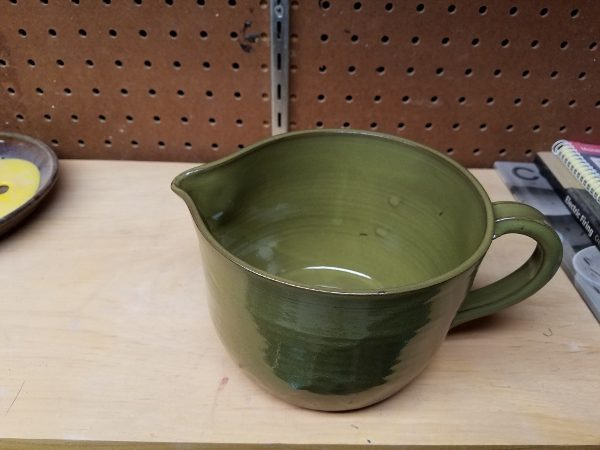 New pottery design from late 2016 - batter bowl in warm green