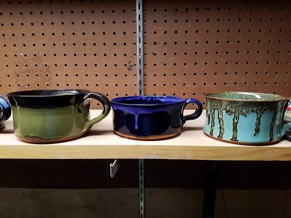 Soup mugs in various colors
