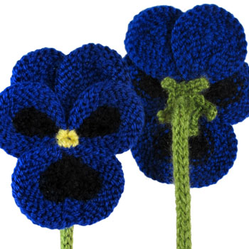 Knit Pansy Flower ♥ By http://www.oddknit.com