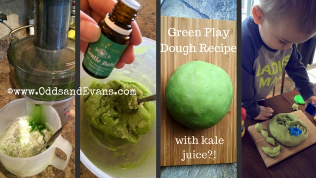 Calming Green Play dough Homemade DIY Recipe with natural food colors