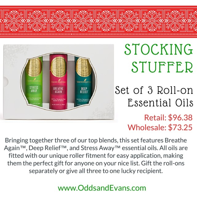 Roll On Set of 3 Stocking Stuffer Essential Oils from Young Living