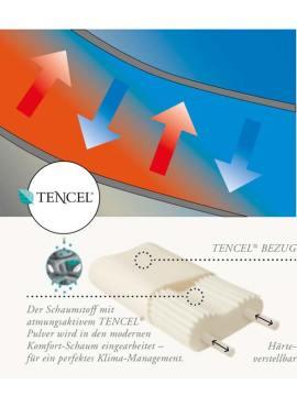 Hygiene im Nackenstützkissen Clima durch TENCEL® Holzfaser im Jersey Überzug als auch Pulver im Schaumstoff, somit können sich Milben auf natürlich Art nicht verbreiten