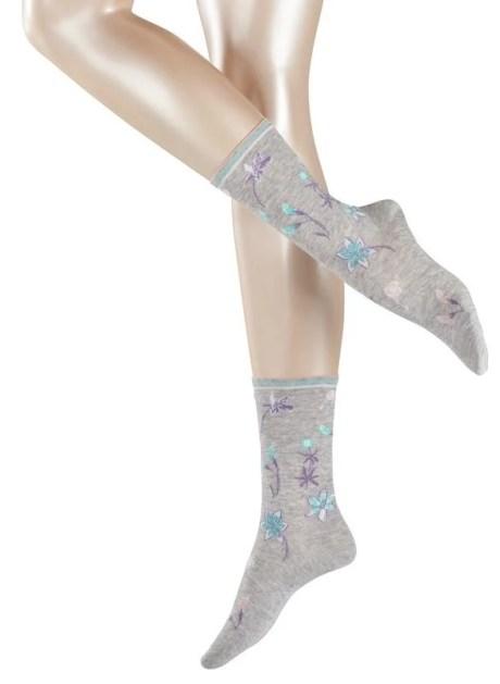 FALKE Esprit Flower Damen Socken 17633-3615 concrete mel. Lyocell