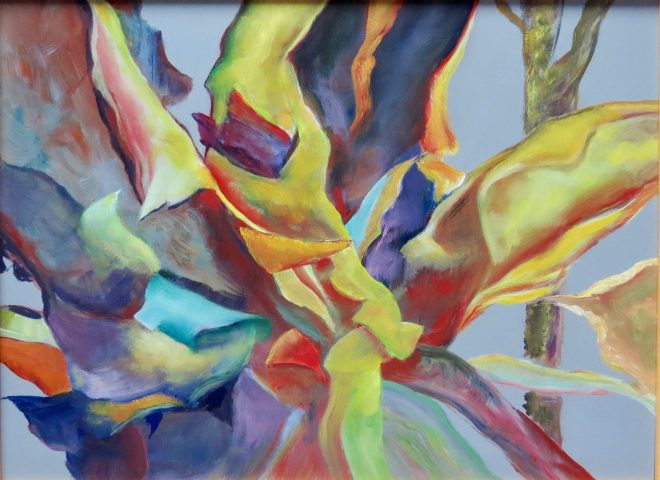 An abstract oil on canvas painting by Odette Laroche which appears to be colourful peelings of Arbutus bark.