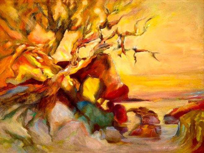 An oil on canvas painting of an arbutus tree without leaves that is by the ocean during a sunset by Odette Laroche in Sidney, BC.