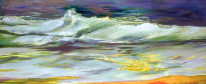 An oil on canvas painting of a wave crashing onto a sandy beach by Odette Laroche in Sidney, BC.