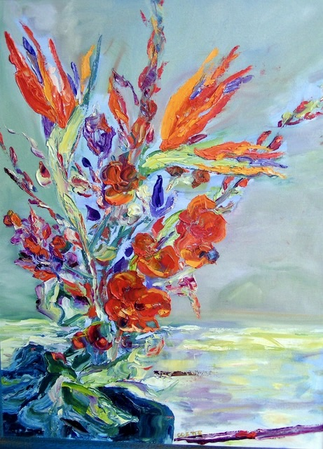 An oil on canvas painting of a bouquet of flowers including some bird of paradise flowers by Odette Laroche in Sidney, BC.
