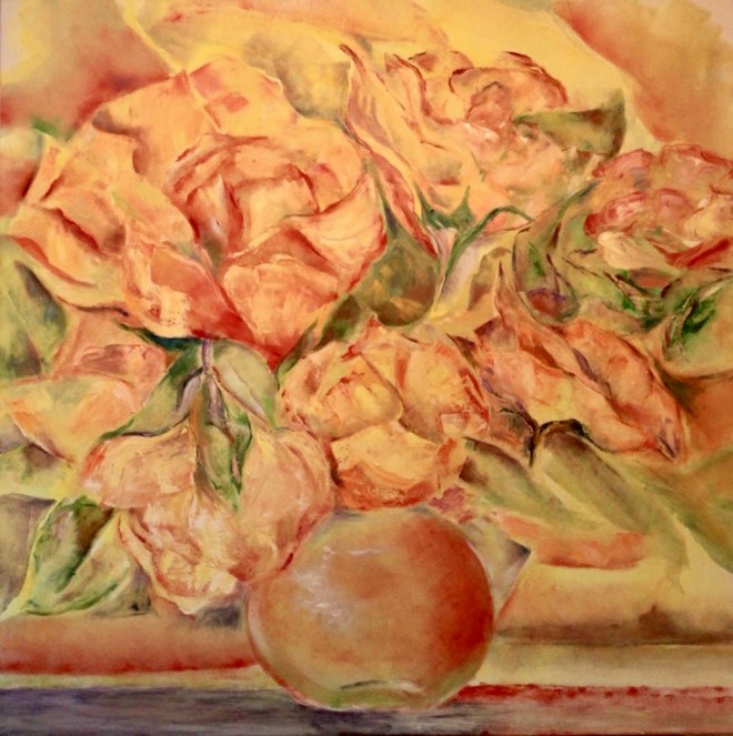 An oil on canvas painting of a bouquet of yellow roses with orange lining the edge of the leaves by Odette Laroche in Sidney, BC.