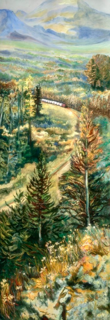 An oil on canvas painting of a train coming around a corner surrounded by trees and mountains by Odette Laroche in Sidney, BC.