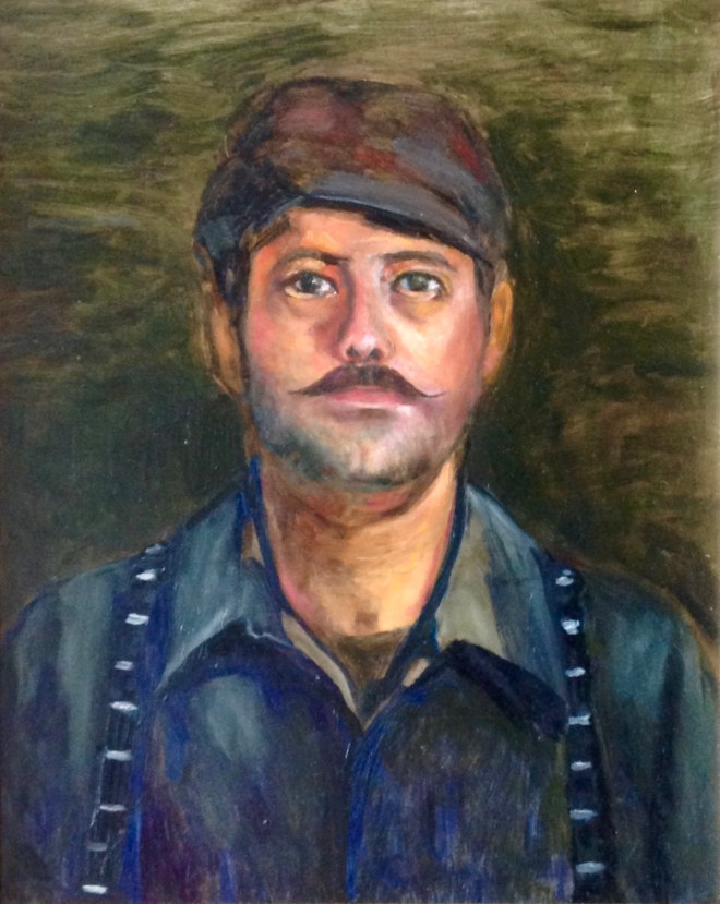 An oil on canvas portrait of a man named Luigi who is wearing a cap and suspenders by Odette Laroche in Sidney, BC.
