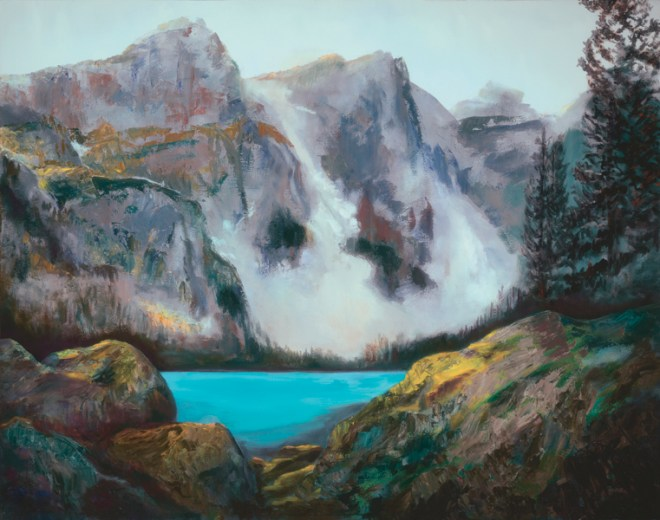 An oil on canvas painting of a viewpoint of Moraine Lake in Alberta by Odette Laroche in Sidney, BC.