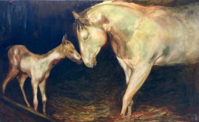 An oil on canvas painting of a white mother horse rubbing her head on a newborn baby white horse by Odette Laroche in Sidney, BC.