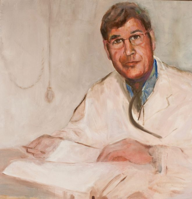 An oil on canvas painting of a male doctor with glasses who is sitting at a desk with a stack of papers by Odette Laroche in Sidney, BC.