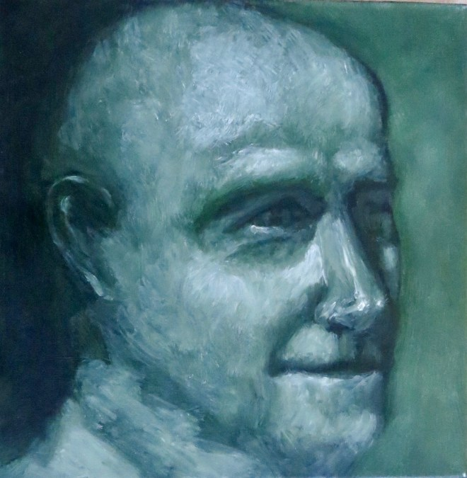 An oil on canvas portrait of a bald man who looks happy by Odette Laroche in Sidney, BC.