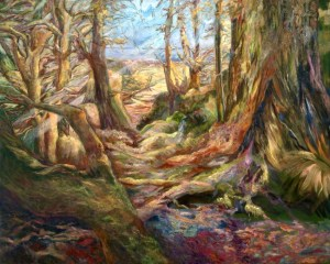 An oil on canvas painting of a lush forest with sunbeams shining through the trees by Odette Laroche in Sidney, BC.
