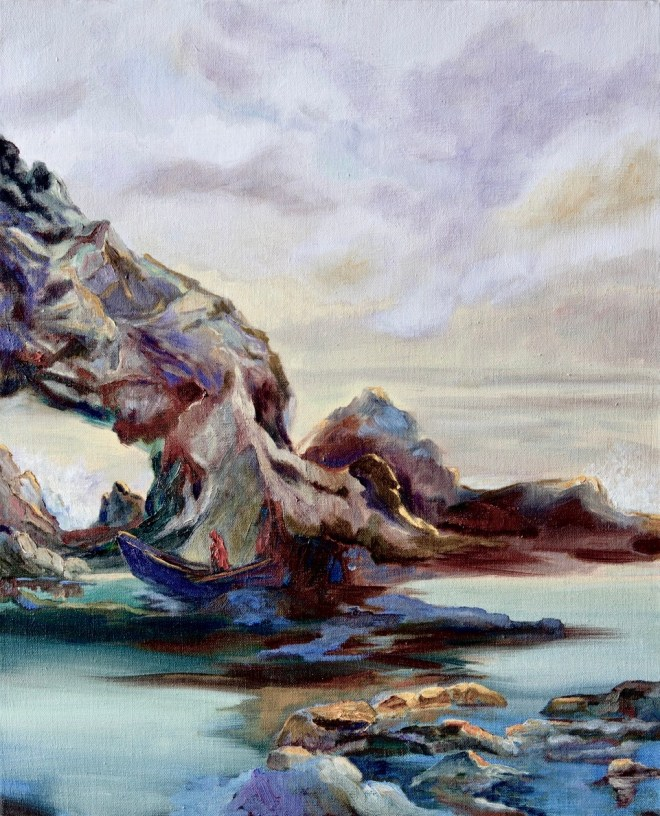 An oil on canvas painting of a rocky keyhole extending out in the ocean by Odette Laroche in Sidney, BC.