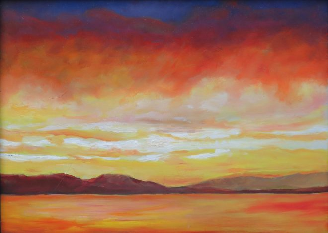 An oil on canvas painting of a sunset over Patricia Bay by Odette Laroche in Sidney, BC.