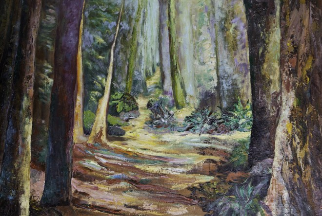 An oil on canvas painting of a rough path that goes through a deep forest by Odette Laroche in Sidney, BC.
