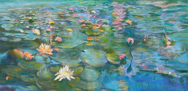 An oil on canvas painting of some waterlilies in a pond by Odette Laroche in Sidney, BC.
