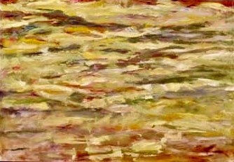 An abstract oil on canvas painting by Odette Laroche which features many shades of yellow and tinges of red, which appears to be a cloudy sky at sunset.