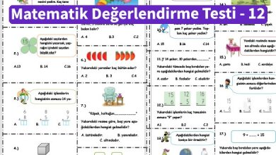 Photo of İlkokul 1.Sınıf Matematik Değerlendirme Testi – 12