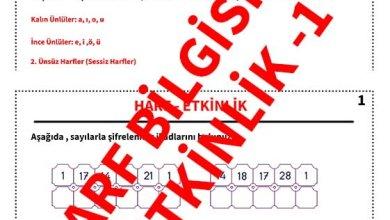 Photo of İlkokul 1.Sınıf Türkçe Harf Bilgisi ve Etkinliği – 1