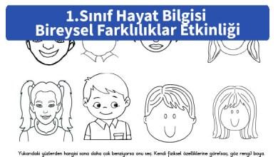 Photo of İlkokul 1. Sınıf Hayat Bilgisi Bireysel Farklılıklar Boyama Etkinliği