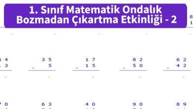 Photo of İlkokul 1. Sınıf Matematik Ondalık Bozmadan Çıkartma Etkinliği – 2