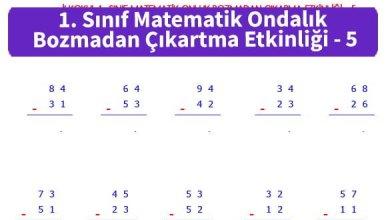 Photo of İlkokul 1. Sınıf Matematik Ondalık Bozmadan Çıkartma Etkinliği – 5