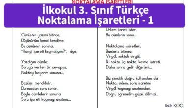 Photo of İlkokul 3. Sınıf Türkçe Noktalama İşaretleri – Pdf İndir