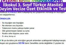 Photo of İlkokul 3. Sınıf Türkçe Atasözü Deyim Vecize Özet Etkinlik ve Test – Pdf İndir