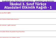 Photo of İlkokul 3. Sınıf Türkçe Atasözleri Etkinlik Kağıdı – Pdf İndir