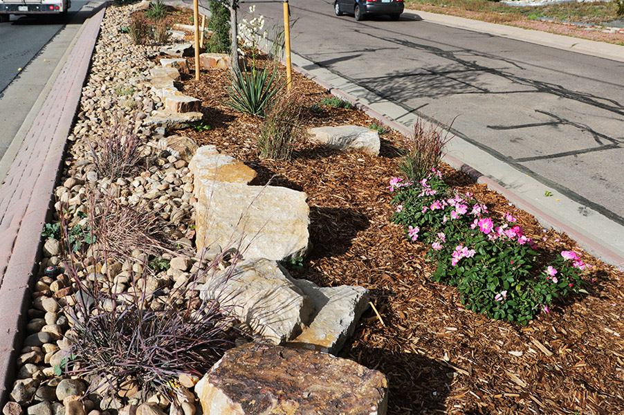 Lakewood Medians Renovation Wadsworth Xeriscape & Boulders