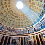 Interior of Pantheon with the famous light ray from the top, Rome, Italy