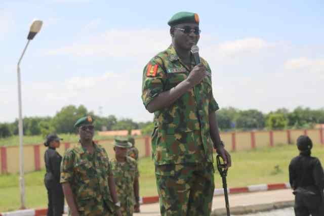 Chief of Army Staff (COAS), Lieutenant General Tukur Yusufu Buratai   addressing the troops at the Headquarters 1 Brigade in Gusau, Zamfara State