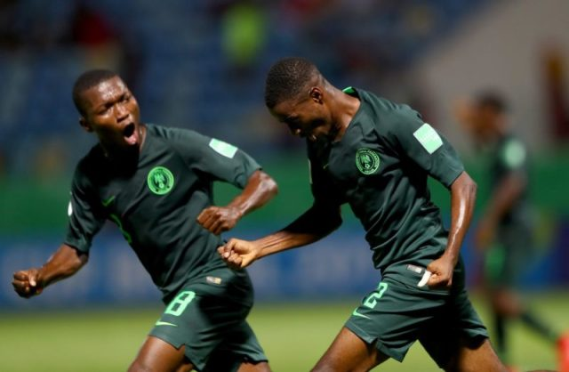 Eaglet's players celebrate one of their goals yesterday