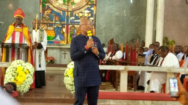 Right Rev. Ndubisi Obi enthroned   New Bishop of Nnewi Anglican Diocese with the Anambra State Deputy   Governor, Dr Nkem Okeke (1)