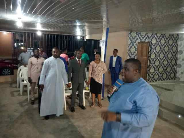 Bishop Dr David Zoe of Zoe Ministries worldwide presiding at the dedication of the altar of Citadel of Fresh Rain Ministry Awka while Evangelist Dr Godsent Ugo Obijuru Spiritual Director Citadel of Fresh Rain Ministry Awka with others watch behind