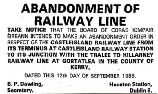 Abandonment Order 12 Septmber 1986