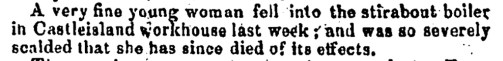 Workhouse tragedy in 1850