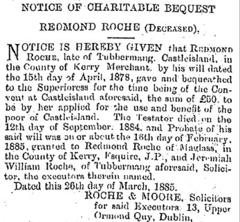 5 Bequest from Redmond Roche of Tubbermang