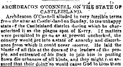 6 Plague spot of Kerry - Archdeacon O'Connell implores his congregation to desist in violence