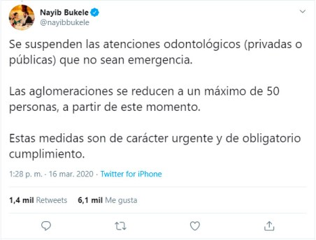 Tweet Nayib Bukele