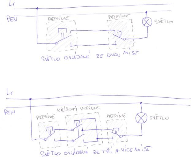 Zapojení schodišťového vypínače