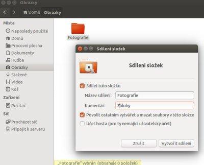 sdílení v Ubuntu