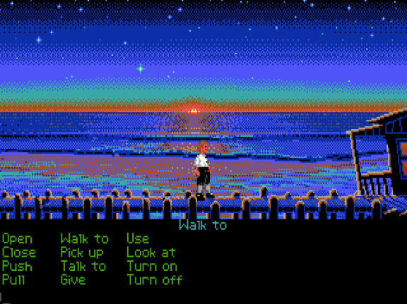 This beatifull sunset is only present in the original EGA version of Monkey Island.