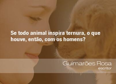 Se todo animal inspira ternura, o que houve, então, com os homens? - Guimarães Rosa, escritor