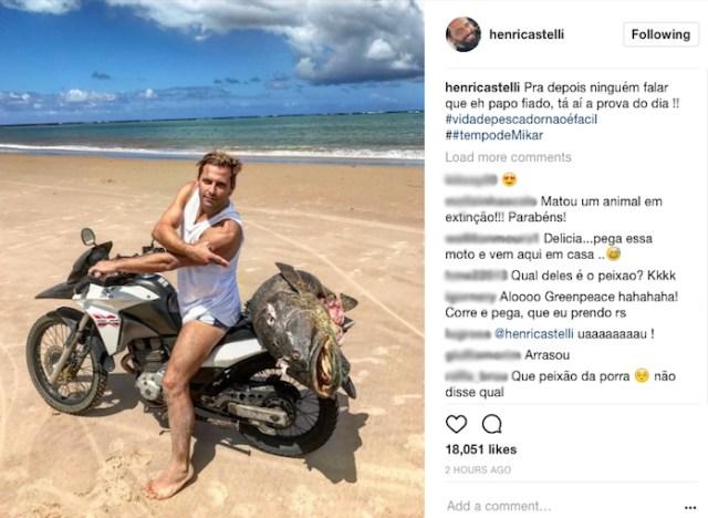 Print da página do ator no Instagram. Após críticas, foto foi apagada.